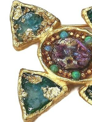Roman Glass Gold Plate Fragments 200 B.C Antique Roman Style Brooch