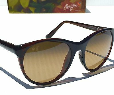NEW* Maui Jim MANNIKIN Brown Stripe POLARIZED Bronze Women's Sunglass HS704-26S