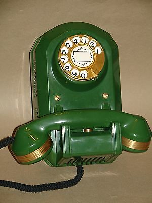 Rare Jade Green Automatic Electric Type 50 Monophone With Satin Gold Plated Trim