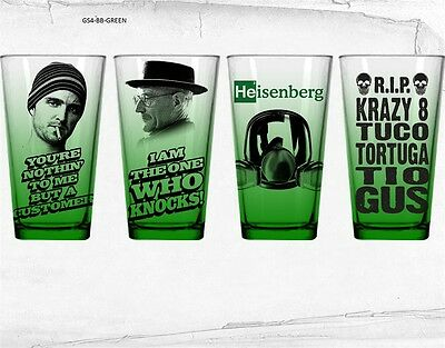 New! Breaking Bad 4-Pack Pint Glass Green