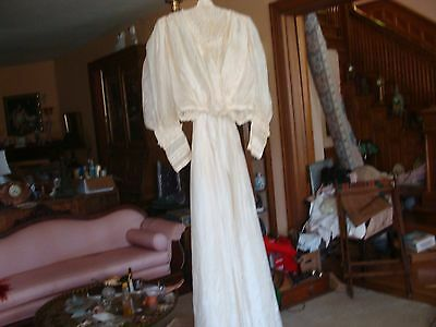 Antique Victorian Edwardian Silk Lace 2 Pc Dress Skirt Blouse Ivory White