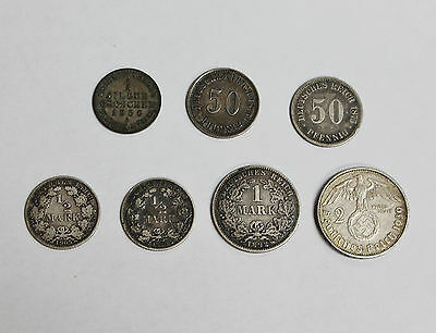 Nice Collector Lot of 7 Early Germany Silver Coins of Different Types 1856-1939!