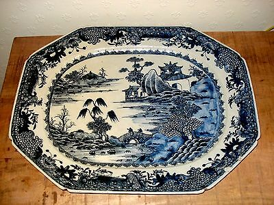 1xstunning chinese 18th century qianlong period blue white large <46cm>  plate