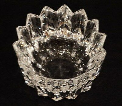 """Vintage Orrefors 6"""" x 4.5"""" Fluted Pointed Rim Heavy Crystal Bowl"""