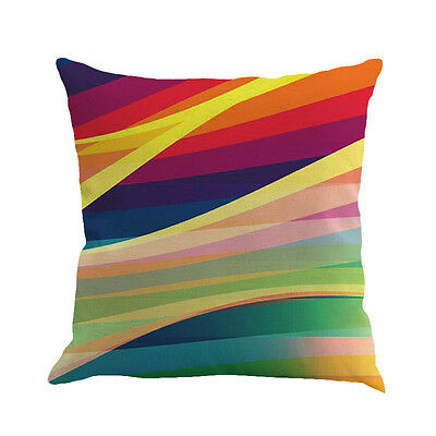 Geometry Painting Linen Cushion Cover Throw Pillow Case Sofa Home Decor Multi