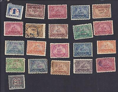 US Battleship, revenue stamps with handstamp and printed cancels