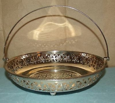 """Very Nice Silver plate Handled Basket or Dish, Made in England; 9"""" Dia; 6 3/4"""" H"""