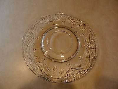 """Fostoria 11 3/4"""" Cracker Serving Plate Etched Pattern Clear with Flowers &Swags"""