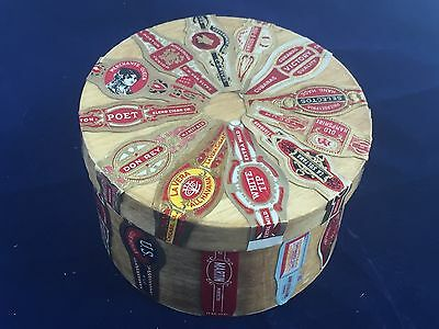 Vintage Cigar Band Box - Trinket Box with Cigar Labels - Non Junk Drawer Lot
