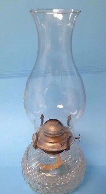Vintage Lamp Light Farms Austrian Glass Oil Lamp With Chimney & Brass Burner