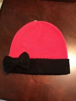 NWT Kate Spade Pink And Black Knit Hat With Bow Detail Women's