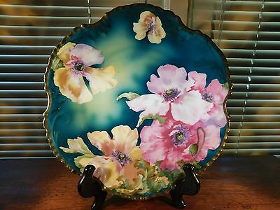 Hand Painted Royal Munich Heavy Gold Rim Floral Plate with Colorful Poppies