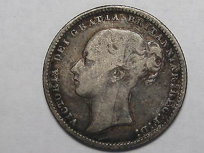 1877 (Die 32) Great Britain Silver Shilling: Victoria Young Head.  #2