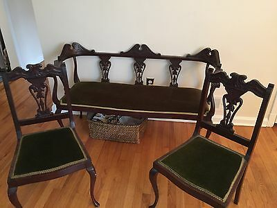Antique Ornately Carved Settee Upholstered Bench with Matching Chairs