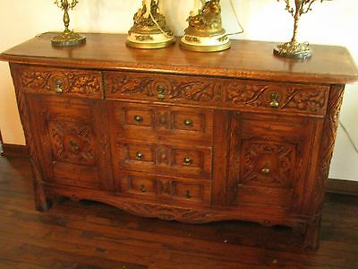 Antique Heavily Carved Buffet In Oak Country French Jacobean Style
