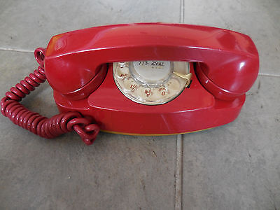 Vintage Bell Western Electric Red Princess Rotary Corded Telephone