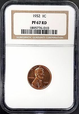 1952 Proof Lincoln Cent certified PF 67 RD by NGC!
