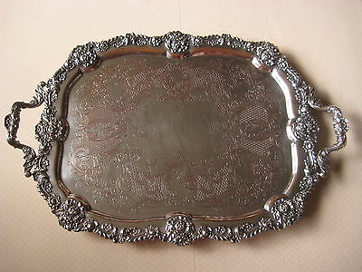 "Vintage OB Allan Silver On Copper Large & Heavy Serving Tray, 24 1/2"" X 17"""