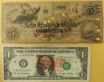 1863 NEW IPSWICH BANK $5 NH New Hampshire Obsolete COUNTERFEIT Antique CURRENCY