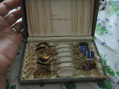 vintage box set  of 6 STERLING SILVER ENAMEL SPOON FINLAND COAT OF ARMS spoons