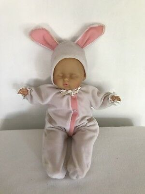 "Goldberger Eegee Doll 15"" Sleeping No Hair Removable Bunny Suit Hong Kong"