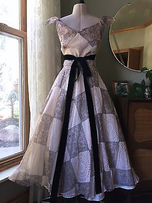 50s Filcol Dress Organdy Lace Print Blush Black Lined Fit Flare 1950s Party Gown