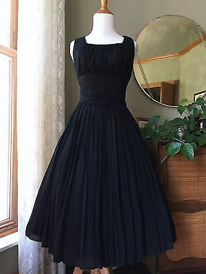 50s Dress Black Chiffon Marsha Young Ruched 1950s Vintage Fit Flare Gown Party
