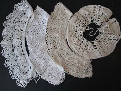 Lot of 4 Hand Crocheted Collars Dainty Lacey Excellent Condition Ships Free