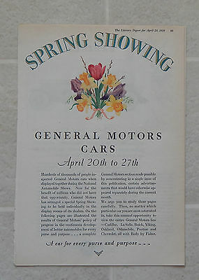 1929 General Motors Car Spring Showing Automobile Magazine 12 Page Ad Chevrolet