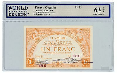 French Oceania ... P-3 ... 1 Franc ... 1919 ... *Ch.UNC* TOP 63.