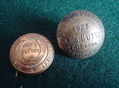 2X Rare Alfs Buttons 2Nd Battalion & Brighton Carnival 1923 - See Images