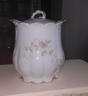Vintage Haviland/Limoge Flowered Biscuit Jar