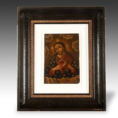 Antique Votive Ex Voto Retablo Devotional Painting Tin Folk Art Mexico 19Th C.