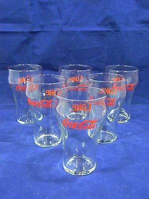 Set of 6 Coca-Cola Glass Vintage With Red Lettering  (10 oz)