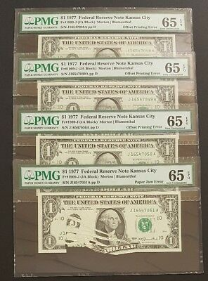 (ERROR SET of 4 GEM NOTES) PMG 65 $1 Notes with Paper Jam and Offset Printing