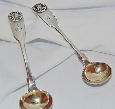 Pair of Rare 19th C. George Adams, (London) King's Pattern Gilt Sterling Spoons