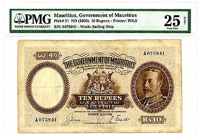 Mauritius ... p-21 ... 10 Rupees ... ND(1930) ...*VF* PMG 25 (VF)