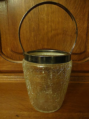 Vintage 1960's Crackle Design Glass Ice Bucket