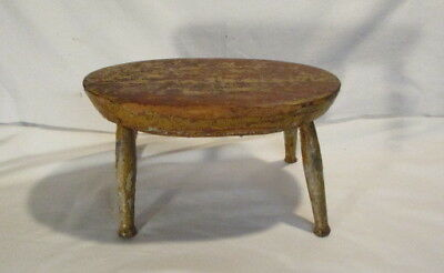 Primitive Footstool Early Milking Stool Yellow And Red Paint Primitive Stool