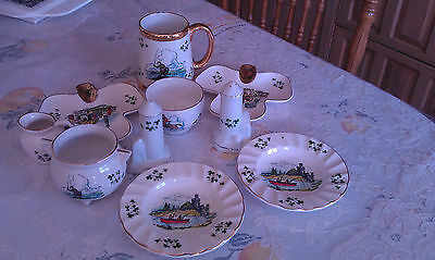 Joblot10 Carrigaline Irish Pottry Shamrock Dishes Bowl Trinket Pot Gold Trim Mug