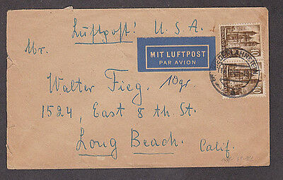 Germany  - 1949 Rheinland cover with pair of Michel #39 stamps mailed to USA