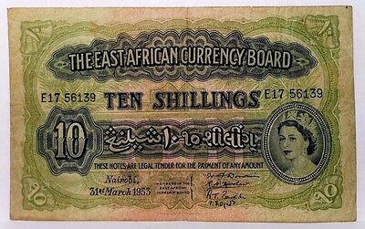 1953 Nairobi East Africa 10 Ten Shillings Banknote Pick#34