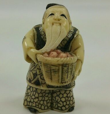 Antique Japanese Netsuke Carving (Signed?) Harvest Figure