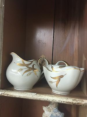 Midas Norleans Harvest Gold Pattern Sugar And Creamer With Lid