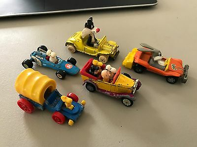Vintage Lot of Looney Tunes and Peanuts Character Cars