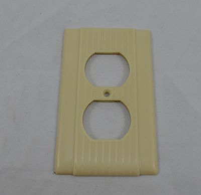 Uniline Sierra Electric Ribbed Art Deco Outlet Plate Cover Ivory Color Bakelite