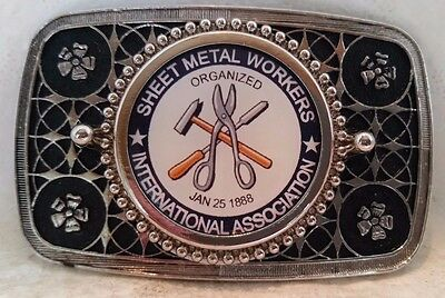 Sheet Metal Workers Association Silver Belt Buckle with Durable Acrylic Finish