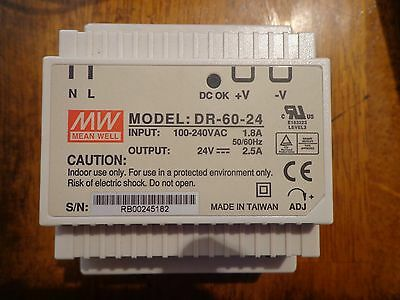 MEAN WELL [PowerNex] NEW DR-60-24 24V 2.5A Din Rail Power Supply LED Driver 60w
