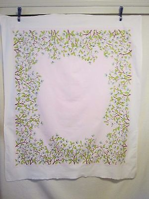 """Lovely Vintage  PINK & WHITE FLORAL PRINT COTTON Tablecloth - 48"""" x 56"""""""