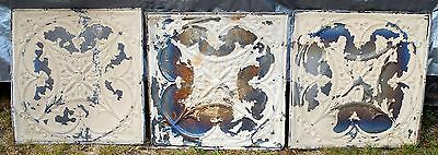 "Vtg 1800's ARCHITECTURAL TIN CEILING TILE 24"" x 24"" LOT 3 ANTIQUE Chippy Crafts"